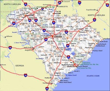 South Carolina Poster Dealers Travel Map