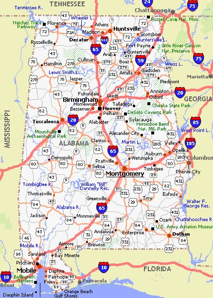 Alabama Movie Poster Dealers And Travel Map - Alabama map