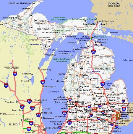Michigan Movie Poster Dealers Travel Map - Michigan on the us map