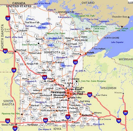 MINNESOTA MAP FreeTemplate - Political map of minnesota