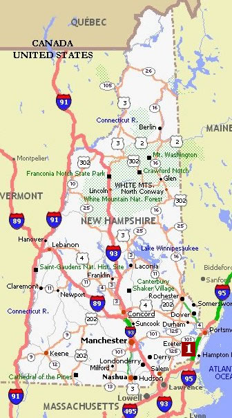 New Hampshire Movie Poster Dealers Travel Map - New hampshire in us map