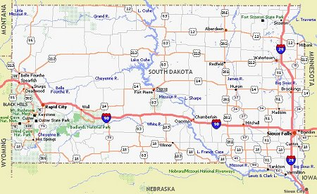 South Dakota Poster Dealers Travel Map - South dakota on the us map