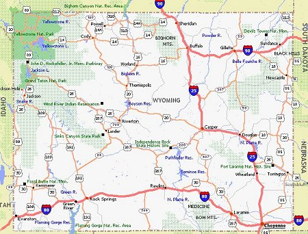 Wyoming Movie Poster Dealers Travel Map - Wyoming map us