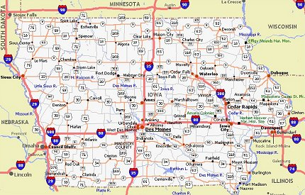 Iowa Movie Poster Dealers Travel Map - Iowa on a us map